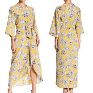 MELLODAY Floral Mustard Ivory Tie Front Dress NWT